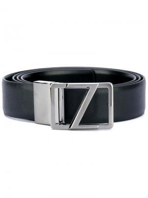 Ремень с серебристой пряжкой Z Zegna. Цвет: чёрный