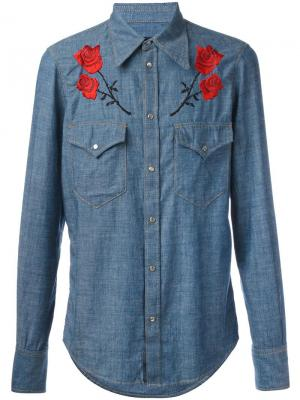 Джинсовая рубашка с цветочной вышивкой Dsquared2. Цвет: синий