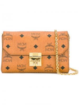 Клатч с принтом логотипа MCM. Цвет: коричневый