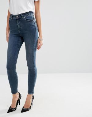 ASOS Синие джинсы скинни с завышенной талией Ridley. Цвет: синий