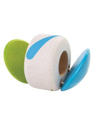 Погремушка Трещотка PLAN TOYS. Цвет: бежевый, зеленый, голубой