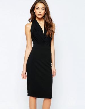 Hedonia Платье-футляр с глубоким вырезом Savannah. Цвет: черный