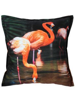 Наволочка декоративная,  принт Фламинго Dorothy's Нome. Цвет: темно-зеленый, оранжевый
