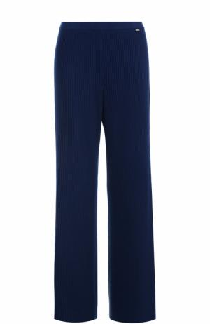 Кашемировые брюки фактурной вязки St. John. Цвет: темно-синий