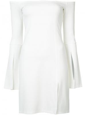 Платье со спущенными рукавами с разрезами Alexis. Цвет: белый