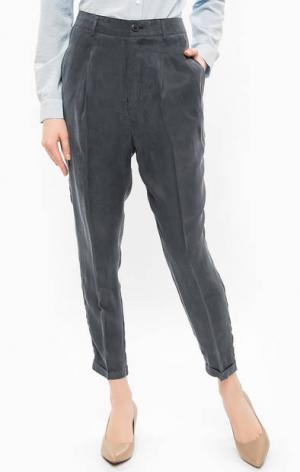 Синие брюки с отворотами ICHI. Цвет: синий