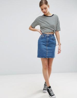 ASOS Синяя джинсовая юбка с завышенной талией. Цвет: синий