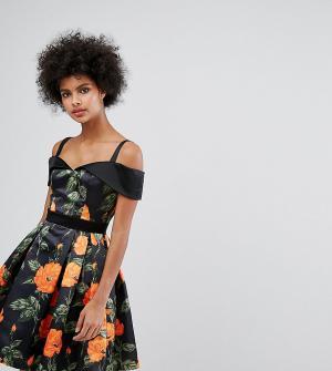 Horrockses Атласное короткое приталенное платье с вырезом сердечком и цветочным п. Цвет: мульти