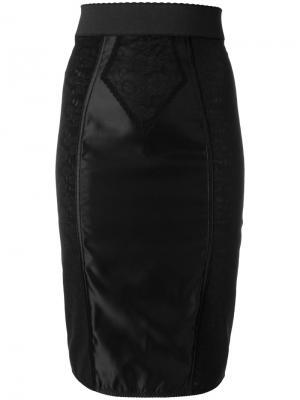 Юбка-карандаш с кружевной вставкой Dolce & Gabbana. Цвет: чёрный