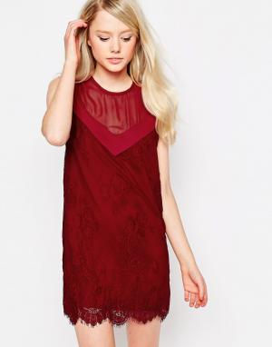 Jovonna Цельнокройное платье с кружевной отделкой Rogers. Цвет: красный