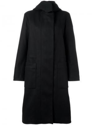 Пальто на молнии с капюшоном Ahirain. Цвет: чёрный