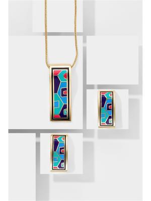 Набор украшений цепочка с кулоном и серьги Вечерний пасьянс Nothing but Love. Цвет: синий, голубой, розовый