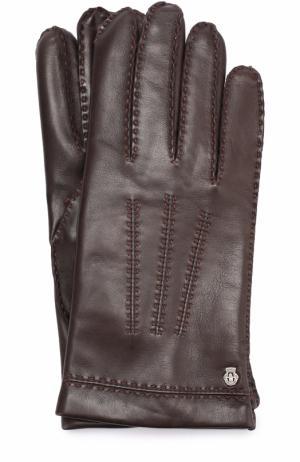 Кожаные перчатки с подкладкой из смеси кашемира и шерсти Roeckl. Цвет: темно-коричневый