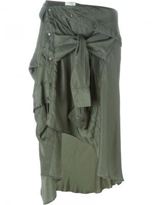 Асимметричная юбка рубашечного кроя Faith Connexion. Цвет: зелёный