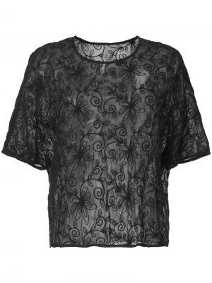 Прозрачная футболка с вышивкой Zambesi. Цвет: чёрный