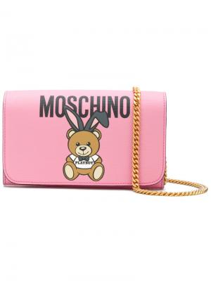 Кошелек на цепочке Teddy Playboy Moschino. Цвет: розовый и фиолетовый
