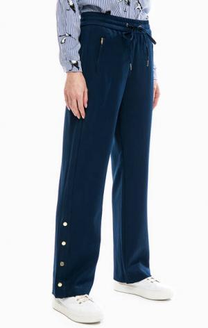 Расклешенные брюки с кнопками на штанинах b.young. Цвет: синий