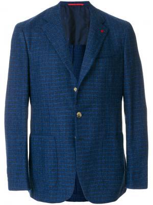 Спортивный пиджак в клетку Isaia. Цвет: синий