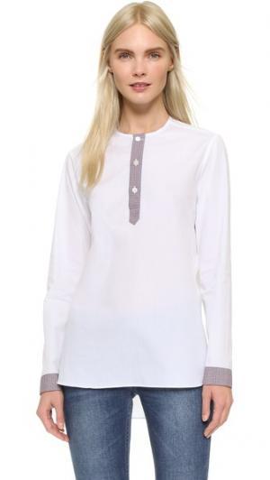 Рубашка Emma с планкой в клетку гингем Marie Marot. Цвет: белый/цветная клетка гингем