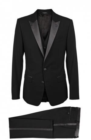 Смокинг-тройка с остроконечными лацканами Dolce & Gabbana. Цвет: черный