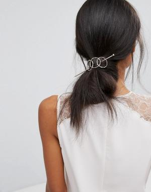 Orelia Заколка для волос со шпилькой и тремя кольцами. Цвет: золотой