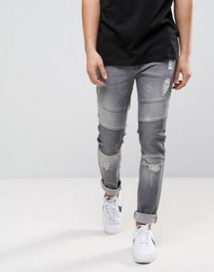 Loyalty & Faith Выбеленные серые байкерские джинсы and Blakely. Цвет: серый