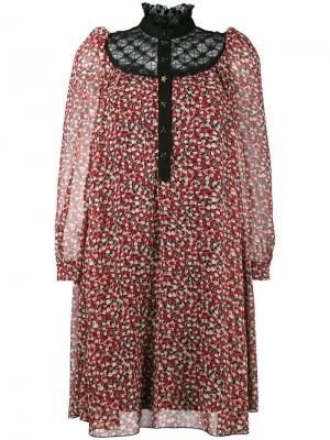 Платье-мини с цветочным принтом и кружевным воротником Philosophy Di Lorenzo Serafini. Цвет: красный