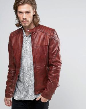 Goosecraft Красная кожаная байкерская куртка. Цвет: красный