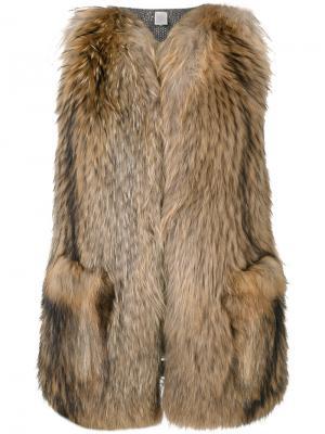 Fur fitted gilet Eleventy. Цвет: коричневый