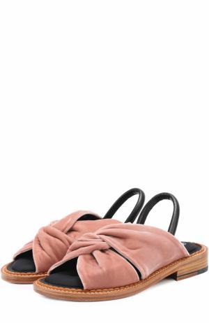 Бархатные сандалии с кожаным ремешком ROBERT CLERGERIE. Цвет: розовый