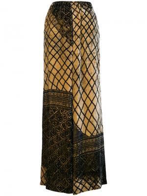 Брюки палаццо с узором Uma Wang. Цвет: коричневый