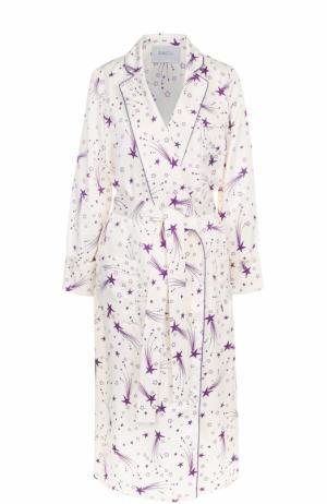 Пальто прямого кроя с принтом и поясом Racil. Цвет: кремовый