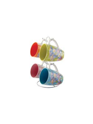 Набор кружек 1/4 на мет,Подставке Коралл. Цвет: синий, зеленый, красный, оранжевый