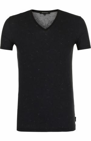 Хлопковая футболка с V-образным вырезом Ermenegildo Zegna. Цвет: черный
