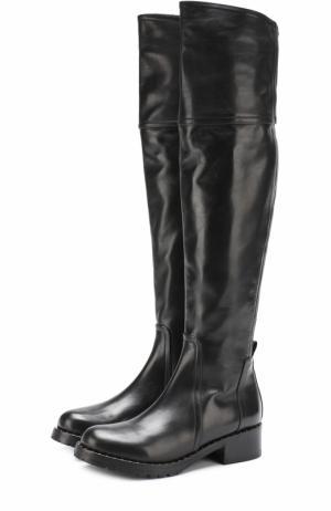 Кожаные ботфорты с заклепками на ранте Baldan. Цвет: черный
