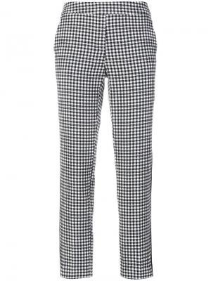 Клетчатые укороченные брюки Luisa Cerano. Цвет: синий