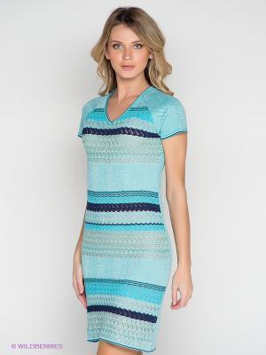Платье Elegance. Цвет: голубой, темно-синий, синий