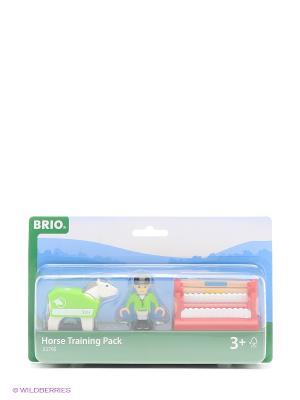 Игровой набор тренировки лошадки с 2 барьерами BRIO. Цвет: белый, зеленый