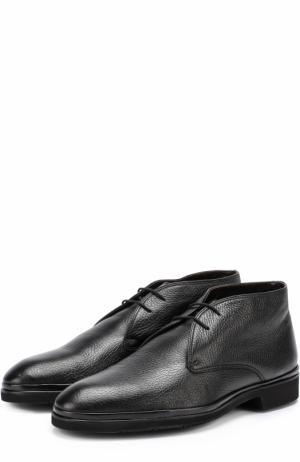 Кожаные ботинки на шнуровке с внутренней меховой отделкой Aldo Brue. Цвет: черный