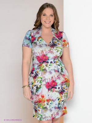 Платье МадаМ Т. Цвет: светло-серый, розовый, бирюзовый
