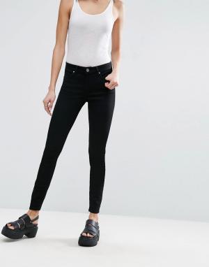 ASOS Черные укороченные джинсы скинни LISBON. Цвет: черный