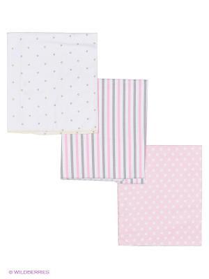 Комплект пеленок (3 шт.) HappyBabyDays. Цвет: розовый, белый, серый