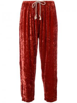 Укороченные спортивные штаны из велюра Forte. Цвет: жёлтый и оранжевый