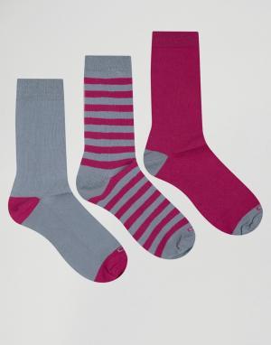 Ciao 3 пары хлопковых носков Italy. Цвет: серый