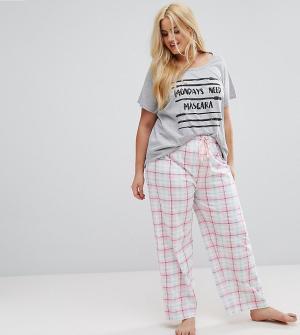 Yours Пижамные штаны в клетку. Цвет: кремовый