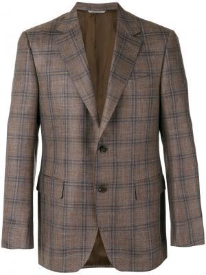 Пиджак в клетку Canali. Цвет: коричневый