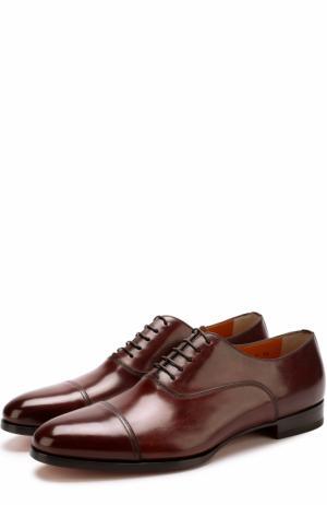 Классические кожаные оксфорды Santoni. Цвет: коричневый
