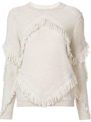 Inlay Fringe Chacha sweater Tanya Taylor. Цвет: белый