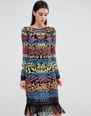 Maya Tall Платье мини с длинными рукавами и отделкой пайетками. Цвет: мульти