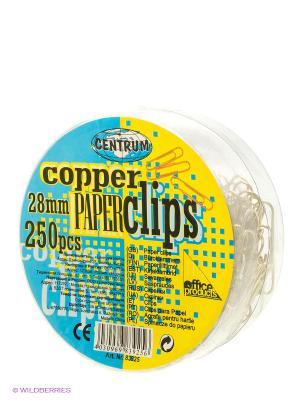 Скрепки круглые 28 мм., медные, 250 штук Centrum. Цвет: голубой